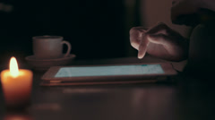 Woman using tablet pc at home. 4k UHD shot. Stock Footage