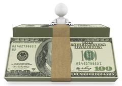 person behind a stack of dollar bills - stock illustration
