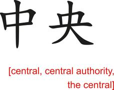 Chinese Sign for central, central authority, the central - stock illustration