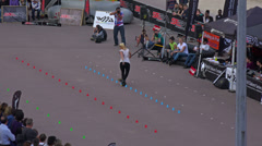 Rollerblade competition is taking place nearby Eiffel tower. Stock Footage