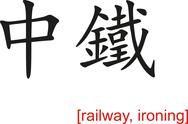 Stock Illustration of Chinese Sign for railway, ironing
