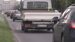 Stock Video Footage of Eastern Europe car traffic view, busy street in commuting rush hours, sunny day