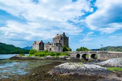 Famous Eilean Donan Castle in the highlands of Scotland - stock photo