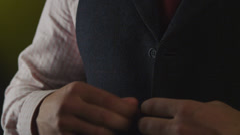 Man businessman wears a suit Stock Footage