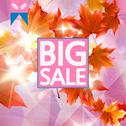 Stock Illustration of Card with maple leaves, autumn sale.