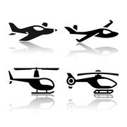 Set of transport icons - airplane and helicopter Stock Illustration