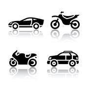 Set of transport icons - sports transportation Piirros