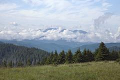 Mountain landscape, eastern carpathians mountains, view from above Stock Photos