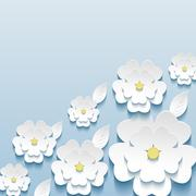 Beautiful trendy wallpaper with 3d flowers sakura and leaves Stock Illustration