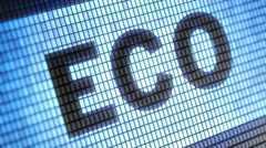 """""""Eco"""" on screen. Looping. Stock Footage"""