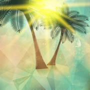 Stock Illustration of Seaside view poster. Geometric abstract.