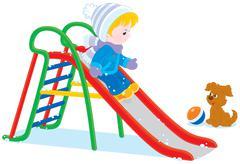 Child on a slide Stock Illustration