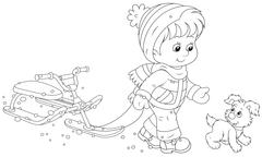 Child walking with a snow scooter - stock illustration