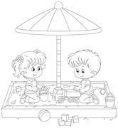 Children play in a sandbox Stock Illustration