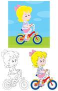 Girl bicyclist Stock Illustration