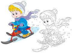 Child on a snow scooter Stock Illustration