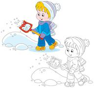 Child with a snow shovel Stock Illustration