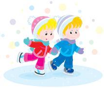Children skating Stock Illustration