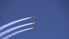 Four planes flying upside down, flight pattern, aircraft, air show Stock Footage