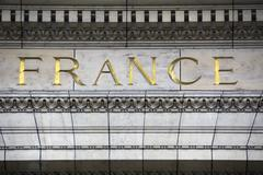 France carved in gold lettering Stock Photos