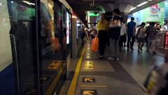Timelapse View of Busy Metro Station in Bangkok, Thailand Stock Footage