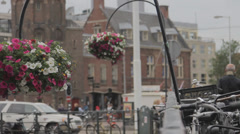 Flowerbeds in the streets of Amsterdam - stock footage
