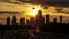 SunRise time-lapse over Dallas w/traffic & few clouds Stock Footage