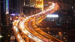Timelapse of busy traffic over overpass in modern city , Shanghai, China Stock Footage