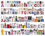 Stock Photo of Colorful newspaper alphabet isolated on white