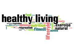 healthy living word cloud - stock illustration