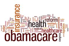 obamacare word cloud - stock illustration