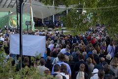almedalen parliamentary parties week in almedalen in visby Gotland Sweden - stock photo