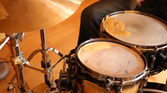 A drummer performing on his Drumset Stock Footage