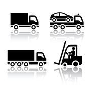 Set of transport icons - truck - stock illustration