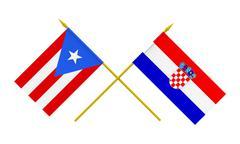 flags, croatia and puerto rico - stock illustration