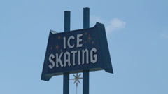 USA Los Angeles 1950 Ice Skating arena sign 1 Stock Footage