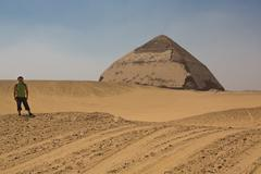 bent pyramid at the bottom - stock photo