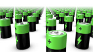 Stock Video Footage of Sweeping across endless Batteries front (Green Top)