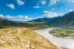 desert valley of the altai mountains - stock photo