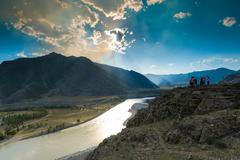 View of the valley from the top altai Stock Photos
