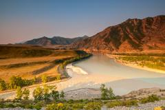 Merger of the two great rivers of altai - chuya and katun Stock Photos