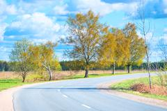 turn highway in a rural location in summer - stock photo
