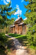 old wooden church of the firs - stock photo