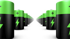 Endless Batteries low angle loop (Green Top) Stock Footage
