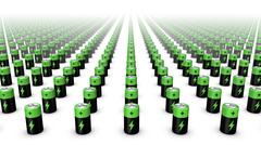 High angle front view of endless Batteries (Green Top) - stock photo