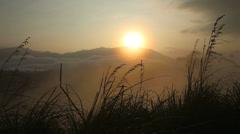 View of a foggy sunrise on the Little Adam's Peak in Ella, Sri Lanka. Stock Footage