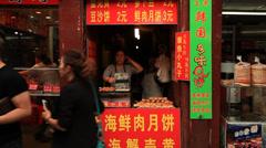 Qibao market vendor 3 30 Stock Footage