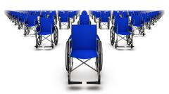 Front view of endless rows of Wheelchairs - stock photo