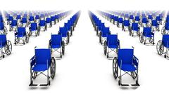 High angle front view of endless Wheelchairs - stock photo
