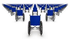 Back view of endless Wheelchairs - stock photo